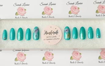 Teal Oval Nails with Flower Detail