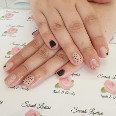 Gel polish nails using Cashmere, Black & Rose Gold Sparkle