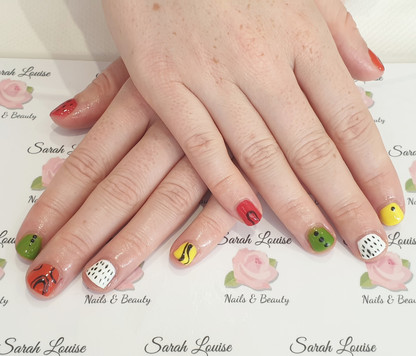 Love all the bright colours! Abstract Gel Polish Nails
