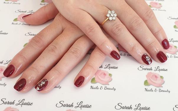 Gorgeous Autumn Gel polish nails with Silver detail