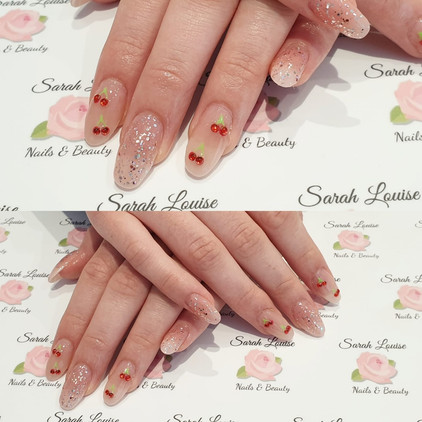 Acrylic Extensions with gem Cherry Detail and Sparkle