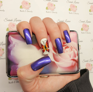 Purple pigment nails with hand painted Butterfly detail