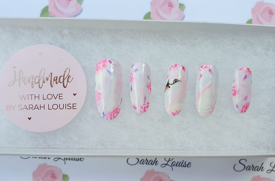 Swan and Roses Hand Painted Nails