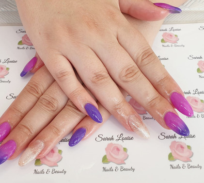 Gorgeous set of Acrylic Extensions with Gel polish Orchid and Tahiti ombre and Rose Gold Sparkle