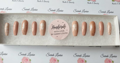 Nude Nails with White Rose Detail