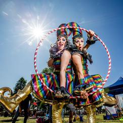 Hula hoop roving performers.