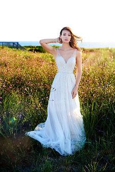 Sheath beadedMartin Thornburg wedding dress