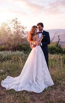 Strapless ballgown Martin Thrnburg wedding dress