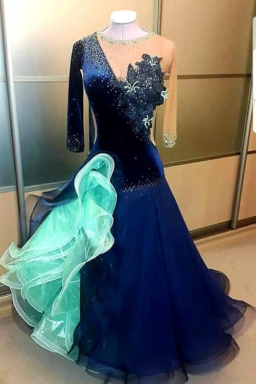 Navy Blue & Turquoise Ballroom Gown