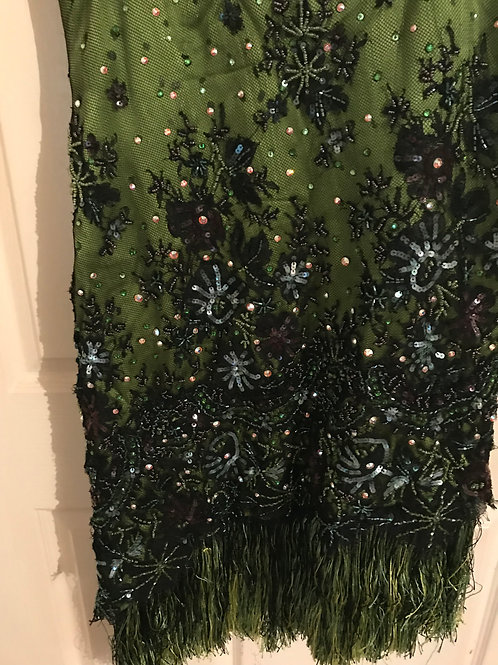 Beaded and Sequined black and green Latin dress