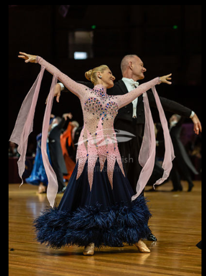 Light Pink & Navy Ballroom Dress