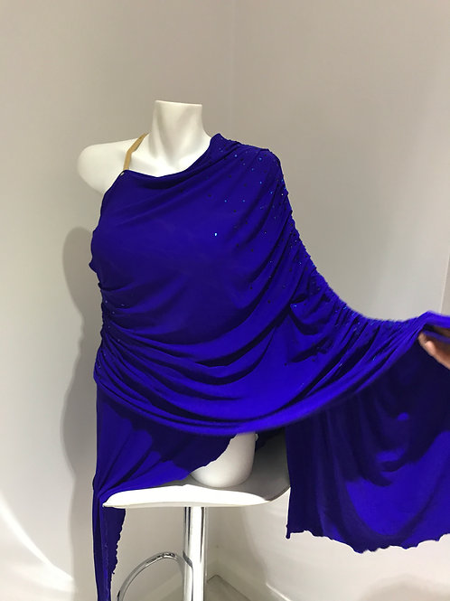 Blue Asymmetric Latin Dress