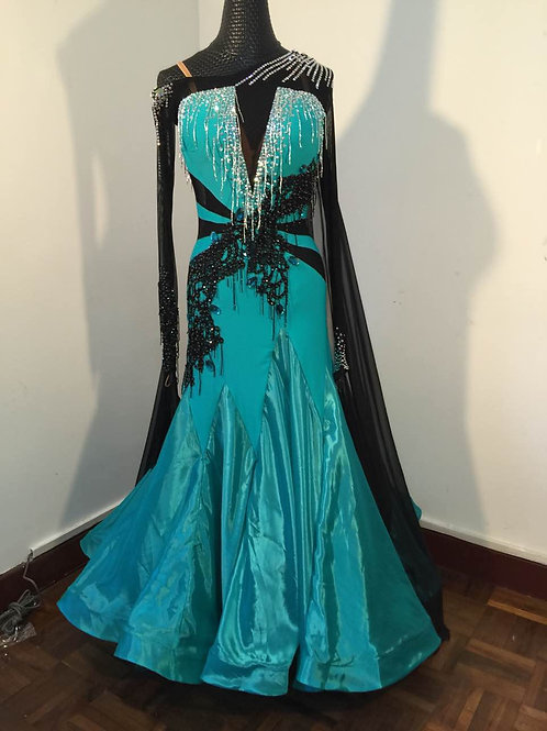 Beautiful Jade and Black Ballroom Dress
