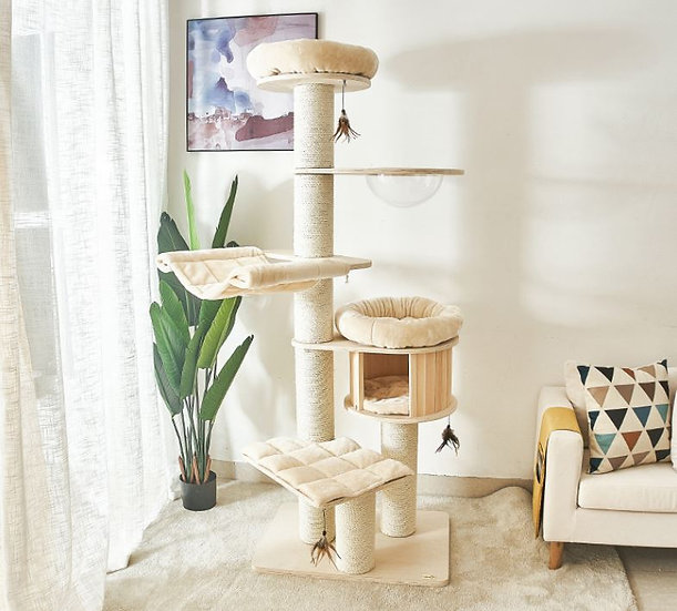 Catry Solid Wood Cat Tree 1.93m