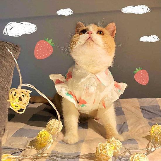 Strawberry Tartan Fleece Petal Sleeve Shirt