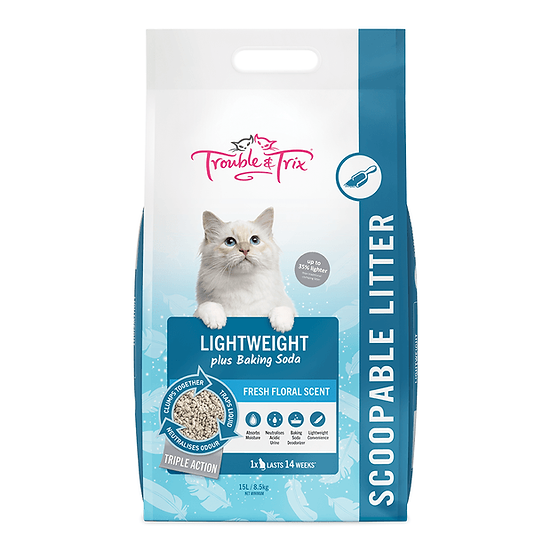 TROUBLE&TRIX Lightweight Scoopable Cat Litter Fresh Floral 15L