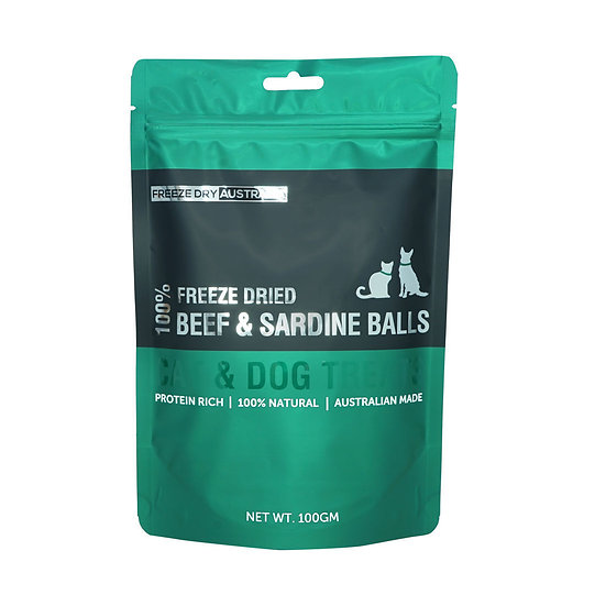 Australian Freeze Dried Treats for Cats& Dogs Beef & Sardine Balls 100g