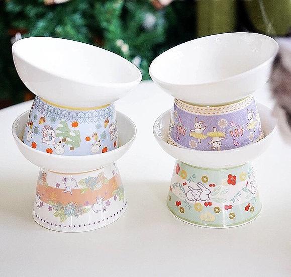 Pan's Rabbits High Stand Ceramic Bowl