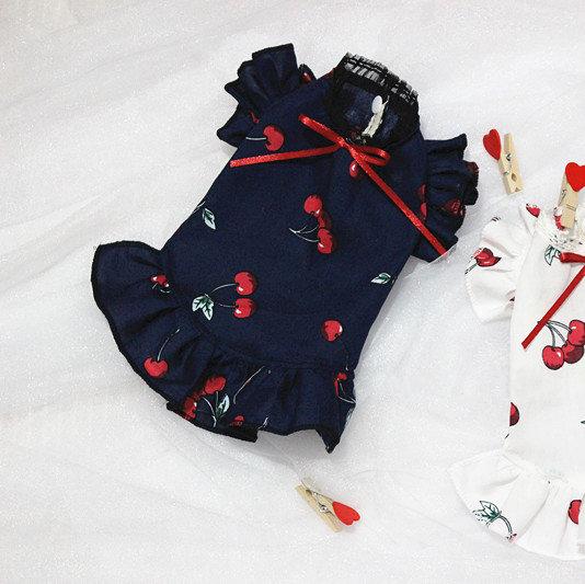 Navy Cherry Pattern Dress