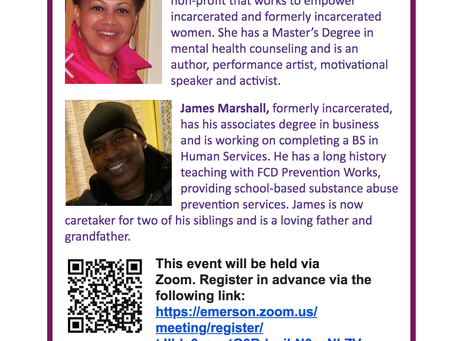 Two formerly incarcerated individuals – Stacey Borden and James Marshall – speak