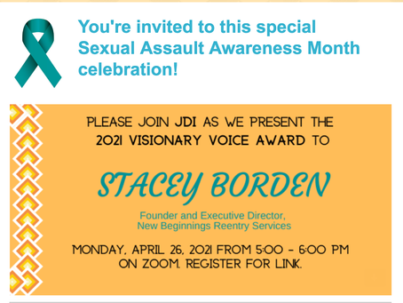 New Beginning Founder to receive the 2021 Visionary Voice Award.
