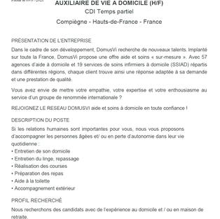 Auxiliaire de vie à domicile, CDI temps partiel - Compiègne (60)