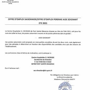 Aide-Soignant emploi saisonnier / emploi pérenne - Centre hospitalier G. Decroze à Pont-Ste-Maxence (60)