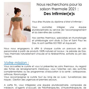 Infirmiers contrat saisonnier - Centre thermal de Dax (40)