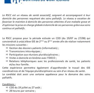 Elève IDE L2 ou L3 en CDD - RSCC Compiègne (60)