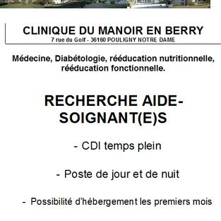 Aides-Soignants - Clinique du manoir à Pouligny-Notre-Dame (36)
