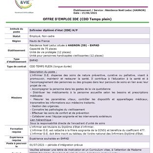 Infirmier - Résidence Noël Leduc à Hasnon (59)