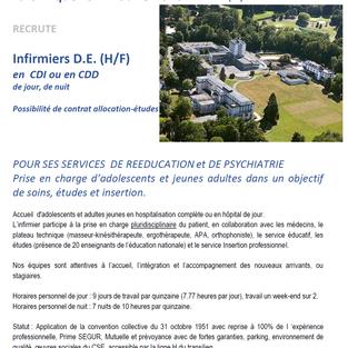Infirmiers en CDI ou en CDD - Clinique FSEF à Bouffémont (95)