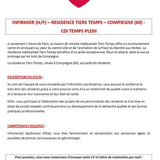 Infirmier - Résidence Tiers Temps à Compiègne (60)