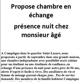 Chambre en échange présence nuit - Compiègne