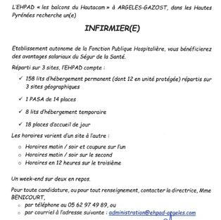 Infirmier - Ehpad à Argeles-Gazost (65)