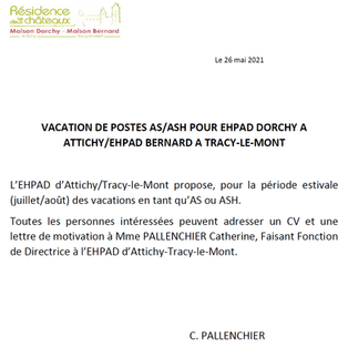 Vacations AS ASH - EHPAD Attichy et EHPAD Tracy-le-Mont