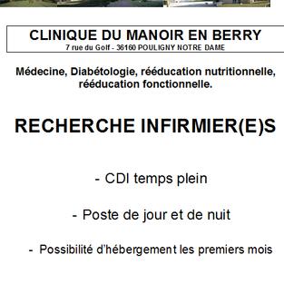 Infirmiers - Clinique du manoir à Pouligny-Notre-Dame (36)