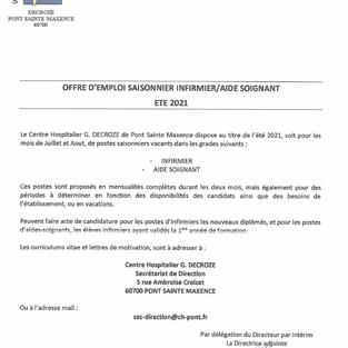 Infirmier et aide-soignant emploi saisonnier - Centre hospitalier G. Decroze à Pont-Ste-Maxence (60)