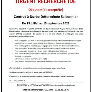 IDE contrat saisonnier - La Bourboule (63)