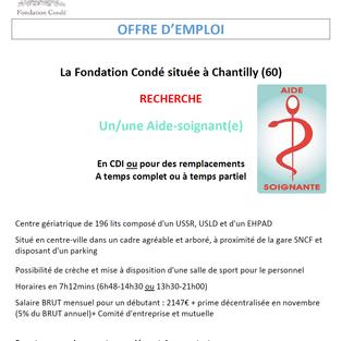 Aide-soignant CDI ou remplacements - Fondation Condé à Chantilly (60)