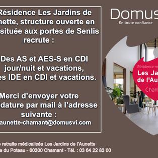 AS, AES et IDE en CDI et vacations - Résidence Les Jardins de l'Aunette à Chamant (60)