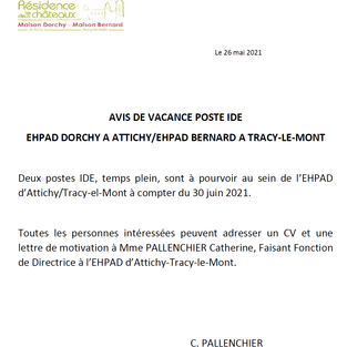 2 postes IDE - EHPAD Attichy et EHPAD Tracy-le-Mont