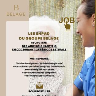 Aide-soignants période estivale - EHPAD du groupe Belage à Nice (06)