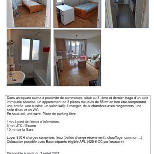 Location meublée T3 55 m² - Compiègne