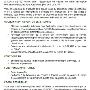 Responsable de secteur - Infirmier coordinateur du Pôle autonomie - A domicile 60