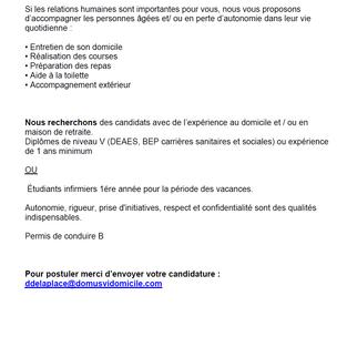 Aide à domicile ou étudiants L1, période vacances - Domus Vi à Compiègne (60)