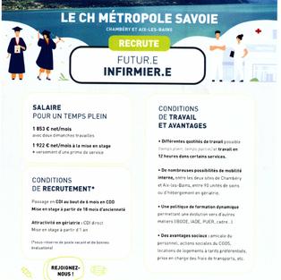 Infirmier - CH métropole Savoie à Chambéry et Aix-les-Bains (73)