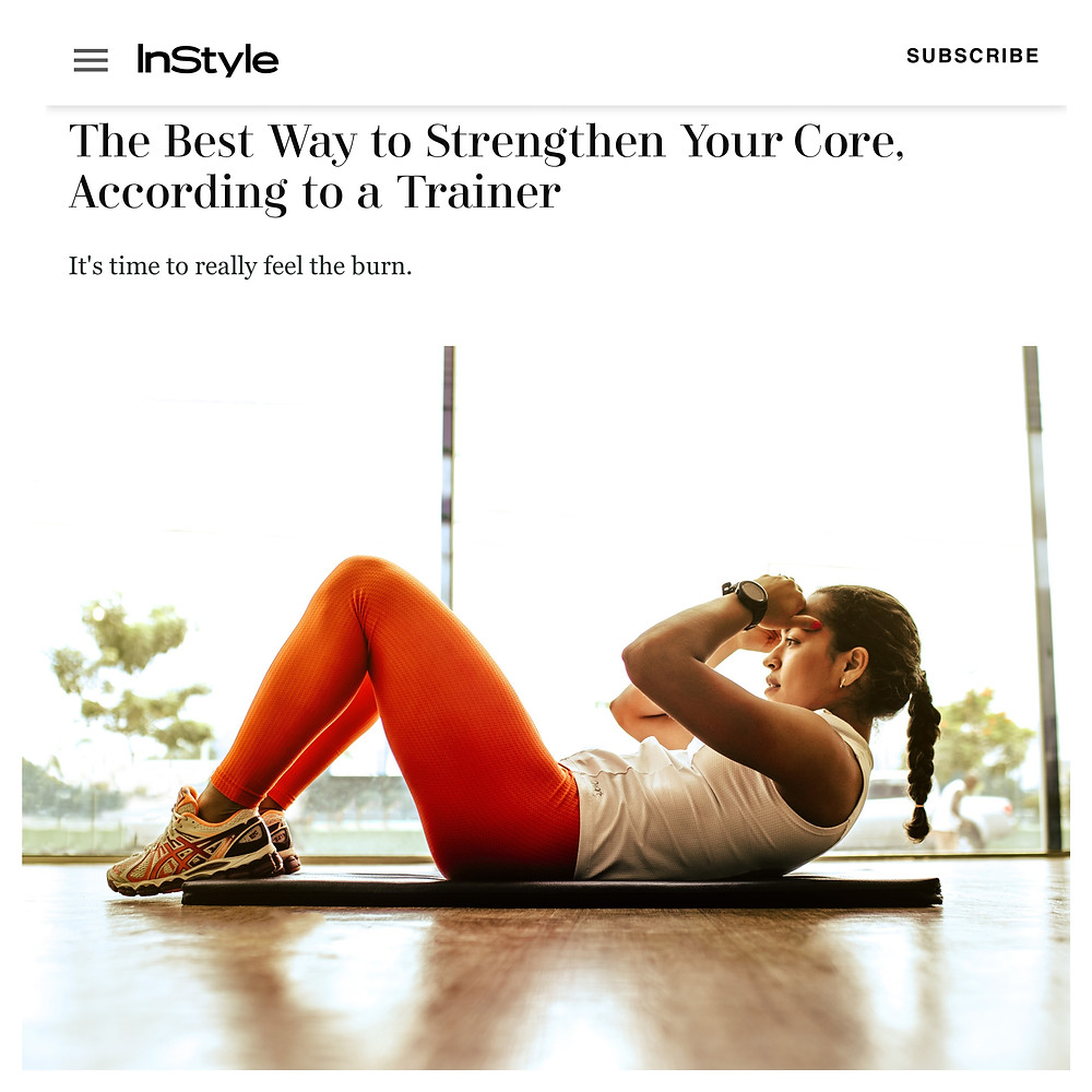 Screenshot of an article of InStyle about workouts