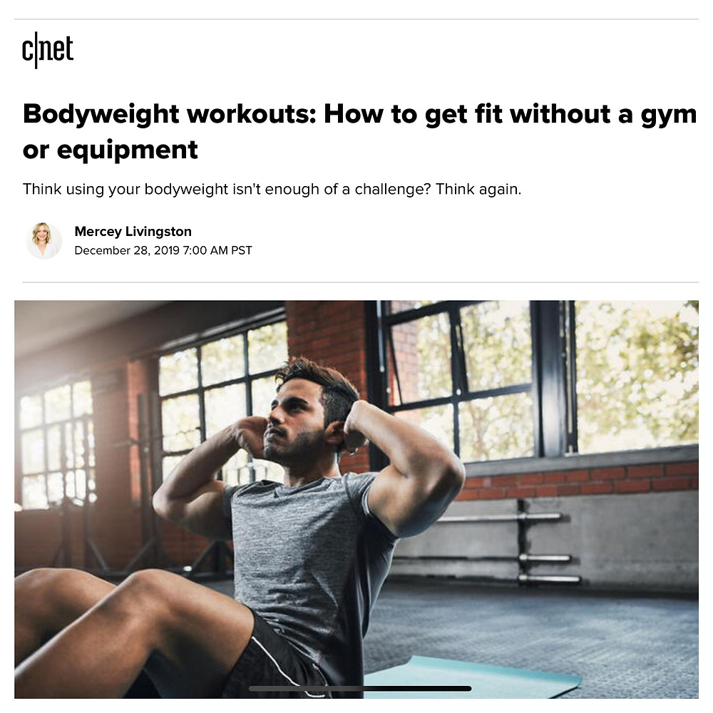 Screenshot of cnet article about workout