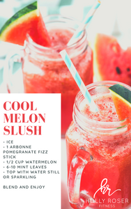Cool Melon Slush Mocktail Recipe. This recipe will give you so much energy + it is super hydrating. #arbonnerecipes